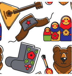 Russian country symbols stereotypes seamless vector