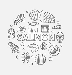 Salmon round - red fish vector