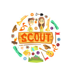 scout banner template with camping and hiking vector image