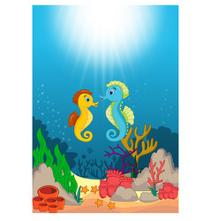 Seahorse in beautiful underwater world cartoon vector