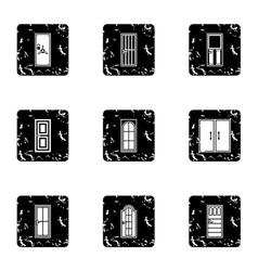 Security doors icons set grunge style vector