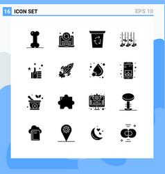 Set 16 solid glyphs on grid for like favorites vector