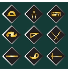 Set gold icons of drawing accessories vector