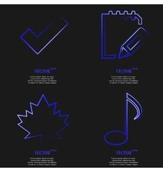 Set of blue web icon flat design Simple sticker vector image