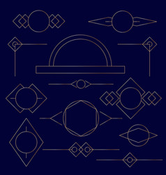 Set of golden linear graphic stylized frames vector