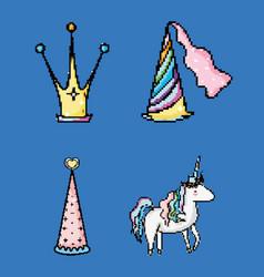 set of pixelated fantasy cartoon vector image