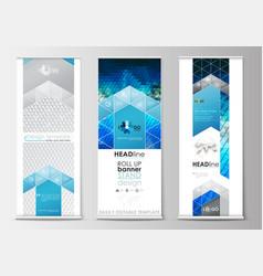 set of roll up banner stands flat design vector image