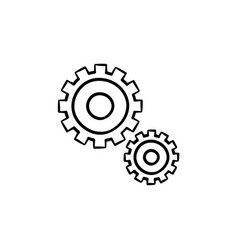 set of two gears hand drawn outline doodle icon vector image