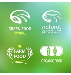 set patterns logos natural farm products vector image