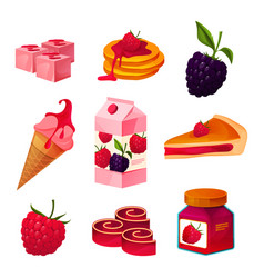 set raspberry and blackberry products icons vector image