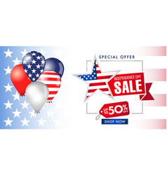 special offer sale banner 4 july usa vector image