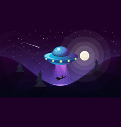 ufo kidnaps a person - cartoon vector image