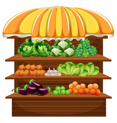 vegetable on wooden shelf vector image