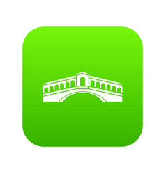 venice bridge icon digital green vector image
