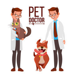 veterinarian male dog and cat medicine vector image