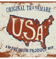 Vintage label of usa map vector