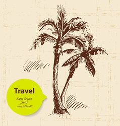 Vintage travel background with palms vector image