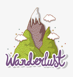 Wanderlust ice mountains and clouds landscape vector