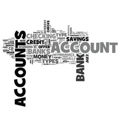 what are the types of bank accounts text word vector image