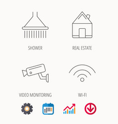 Wi-fi video monitoring and real estate icons vector