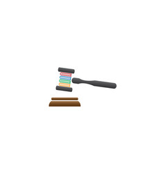 wooden judge gavel or auction hammer with book vector image