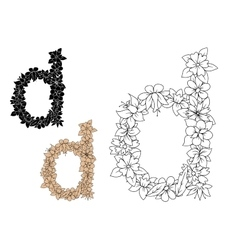 Lowercase letter D with dainty flowers vector image vector image