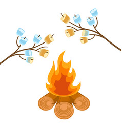 marshmallow on tree branches cooked on bonfire vector image