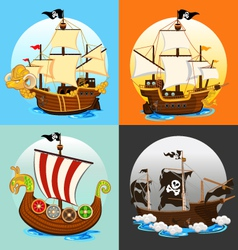 Pirate Ship Collection Set vector image