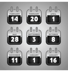 set calendar web icons vector image