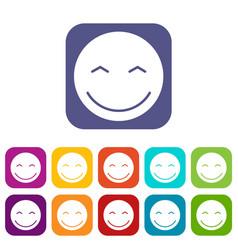 smiling emoticons set vector image vector image