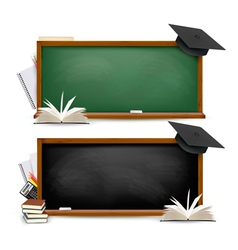 Two banners of chalkboards with school supplies vector image vector image