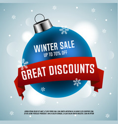 blue christmas ball winter sale vector image vector image