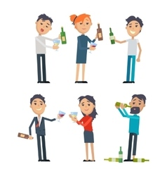 Drunk People with Alcohol Flat Set vector image