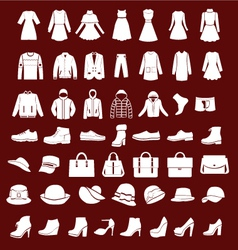 flat women men set clothing shoes and hats vector image vector image