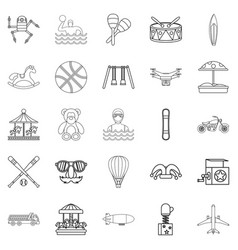 school adventures icons set outline style vector image vector image