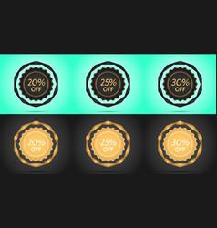 set of black and golden sale badges vector image