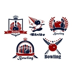 Bowling emblems with game items vector image