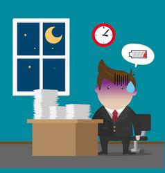 businessman burnout syndrome after hard working vector image vector image