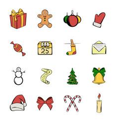 christmas icons set cartoon vector image