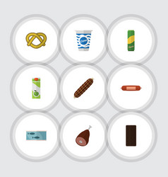 Flat icon meal set of smoked sausage kielbasa vector