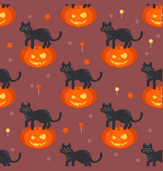 Halloween pumpkin head with black cat pat pattern vector
