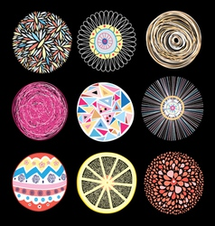 set of patterns different circles vector image vector image