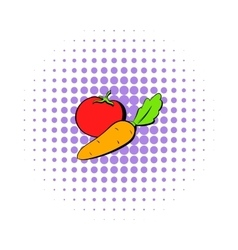 Tomato and carrot icon comics style vector image vector image