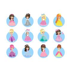 beautiful cartoon princesses flat icons set vector image
