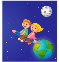 Boy and girl riding a pencil leaving the earth vector image vector image