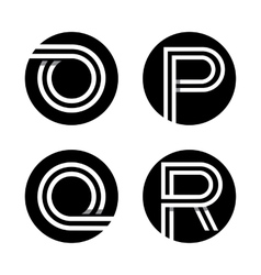 Capital letters O P Q R In a black circle vector image