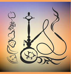hookah with different tastes silhouette vector image