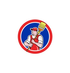Janitor Cleaner Holding Broom Circle Cartoon vector image vector image