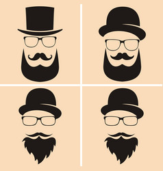set of fashion silhouette hipster style old vector image