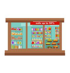 shop or supermarket grocery store shop-window vector image vector image